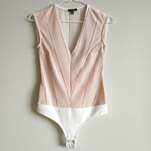 DYNAMITE Sleeveless V-Neck Lace Bodysuit